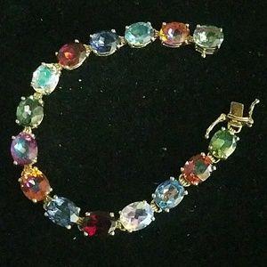 Sterling silver multi gem gold wash bracelet